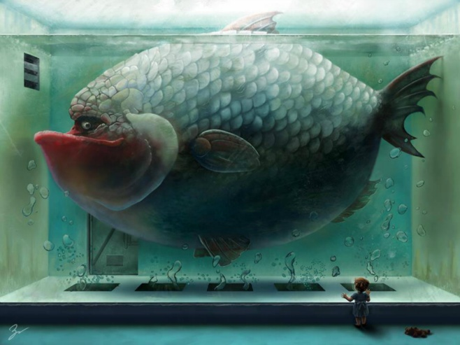 Big fish in big tank digital art painting beautiful for Large aquarium fish