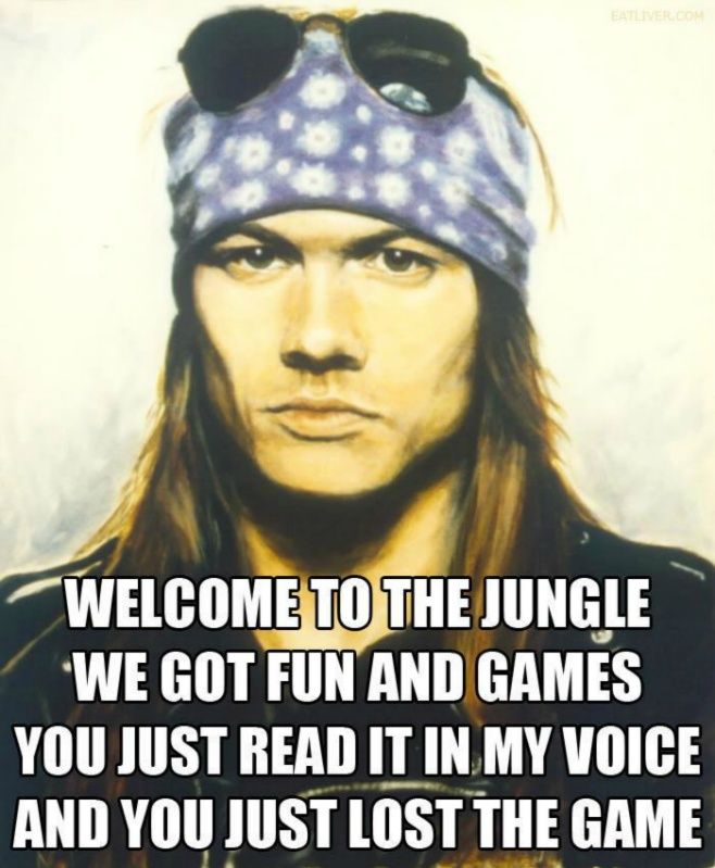 Welcome To The Jungle We Got Fun And Games You Just Read It In My Voice And You Just Lost The Game