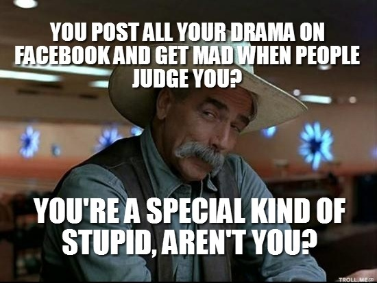 You Post All Your Drama on Facebook and Get Mad when People Judge You? Youre a Special Kind of Stupid, Aren't You ?