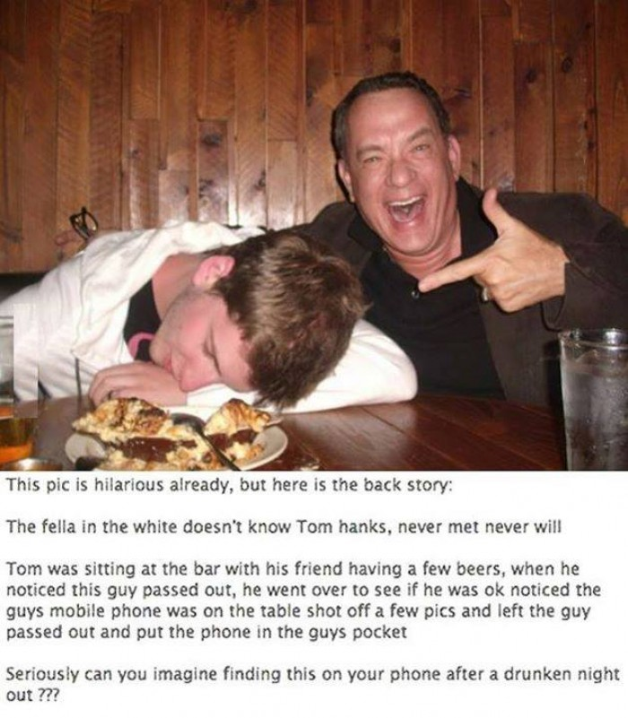 Tom Hanks whit drunk guy