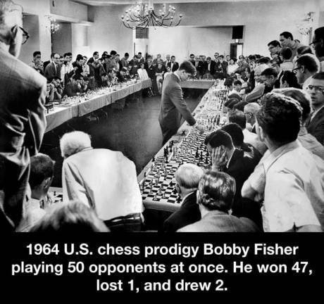 1964 U.S. Chess prodigy Bobby Fisher playing 50 opponents at once.