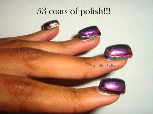 53 coats of polish on nails.