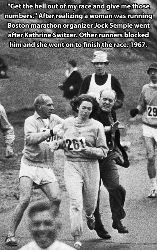 A time when women couldn't run a marathon.