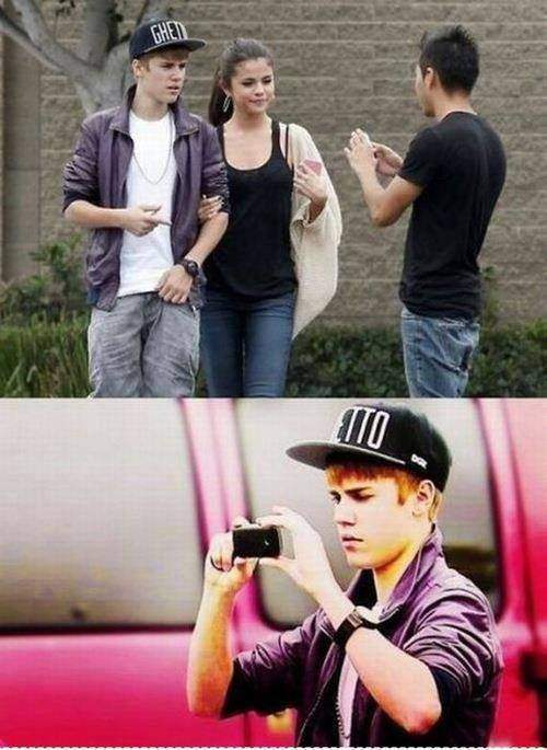A photo of a guy asking Justin Bieber for a photo of him with Selena.