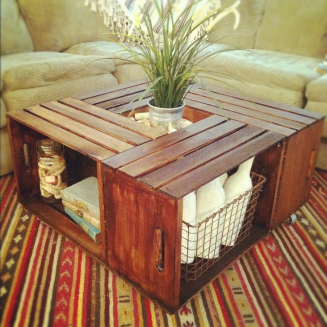 This Coffee Table made from wine boxes is