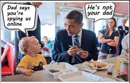 Barack Obama and kid at kindergarten - Dad says you're spynig us online!