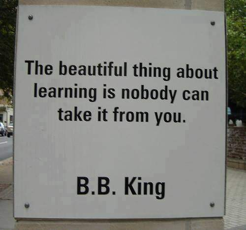 B.B. King - The beautiful thing about learning is nobody can take it from you.