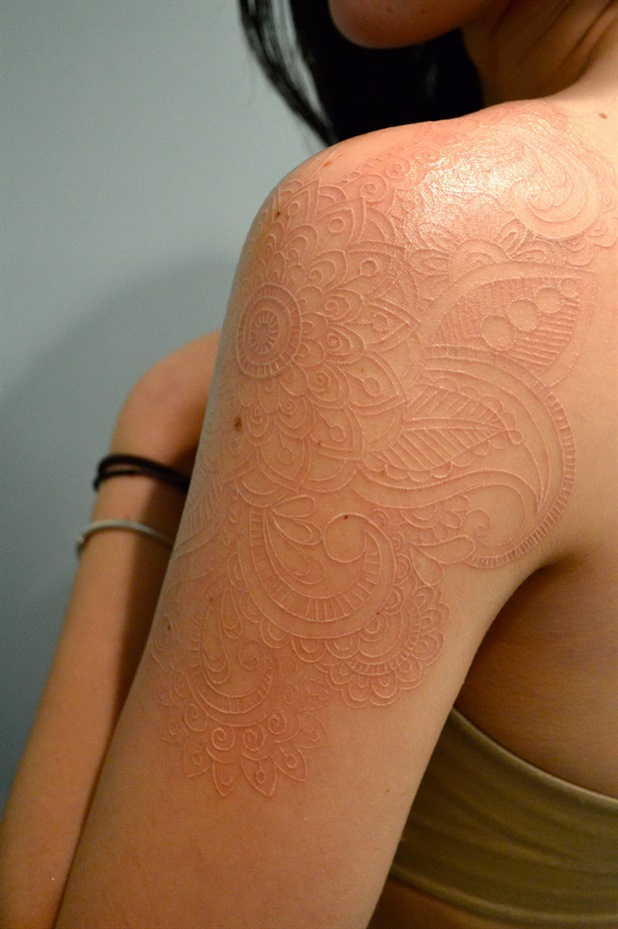 Cool White Ink Tattoo