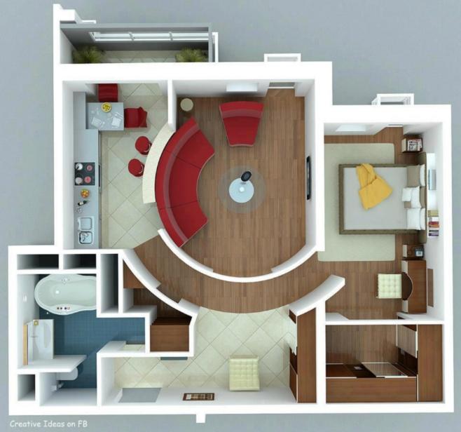 Creative arrange of space in apartment.