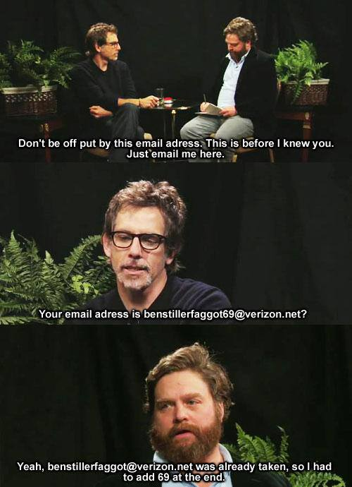 Ben Stiller and Zach Galifianakis - email joke