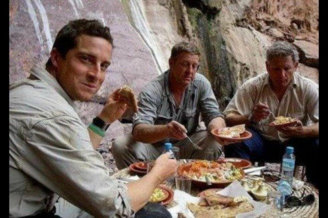 Bear Grylls behind the scene