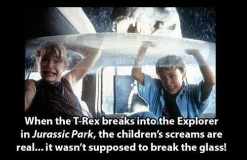 Children's screams are real in Jurassic Park