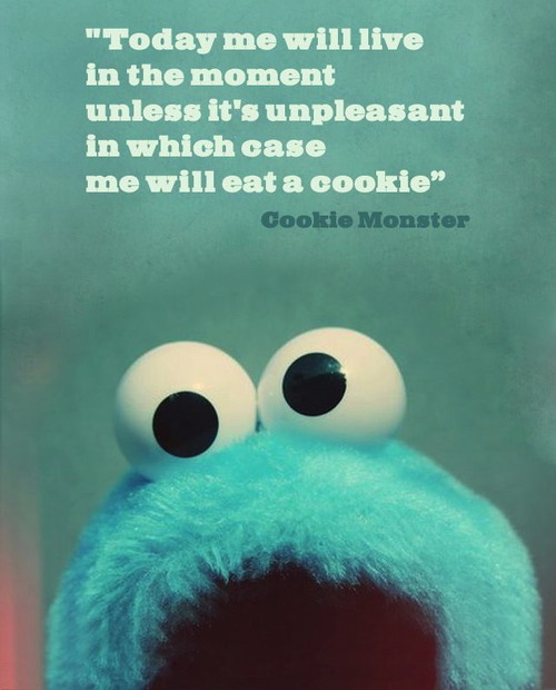 Cookie Monster - Today me will live in the moment unless it's unpleasant in which case me will eat a cookie