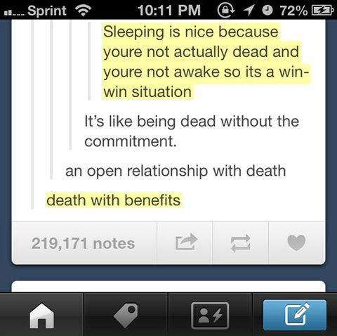 Death with benefits!