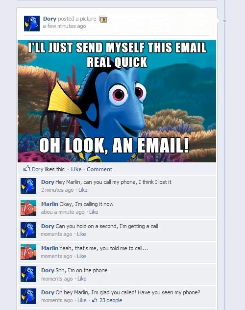 Dory the fish - Funny Facebook status