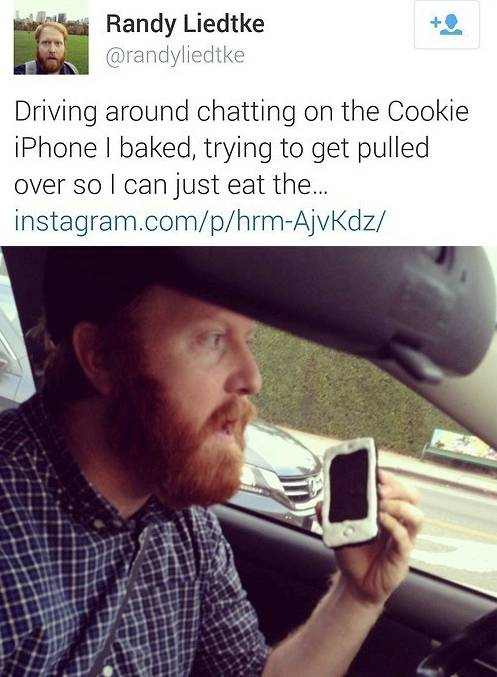 Driving around chatting on the Cookie iPhone