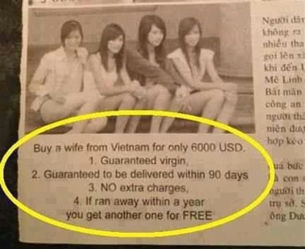 Buy a wife from Vietnam for only 6000 USD.