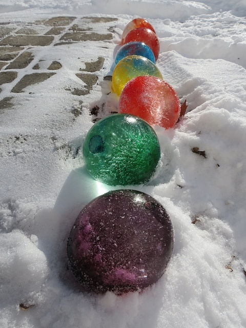 Giant marbles for Christmas decorations on the yard
