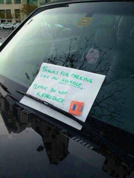 Funny Note On Wrong Parked Car 9buz