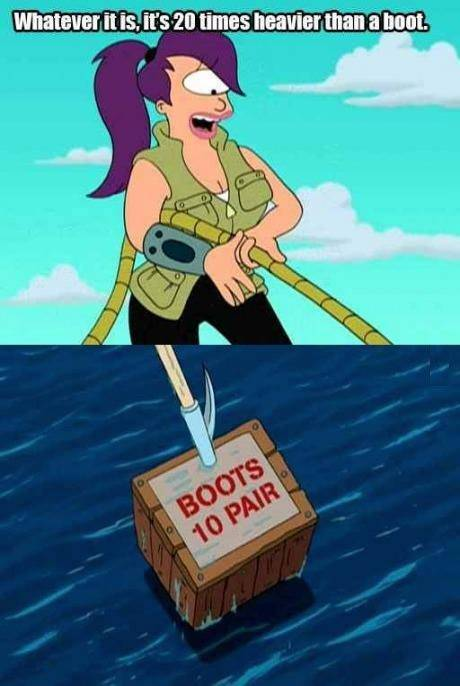 Futurama - Whatever it is, it's 20 times heavier than a boot.