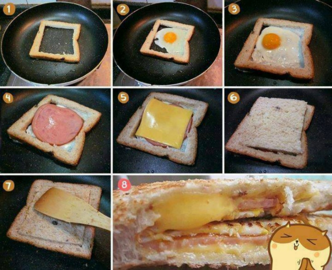Great idea for breakfast - Bread filed with egg cheese and ham