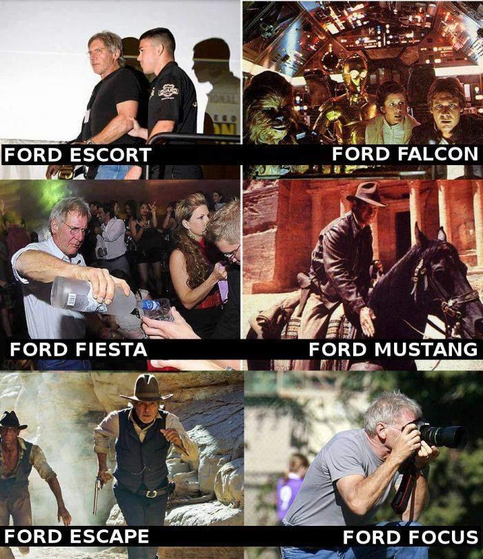 Harrison Ford - Ford Escort, Ford Falcon, Ford Fiesta...