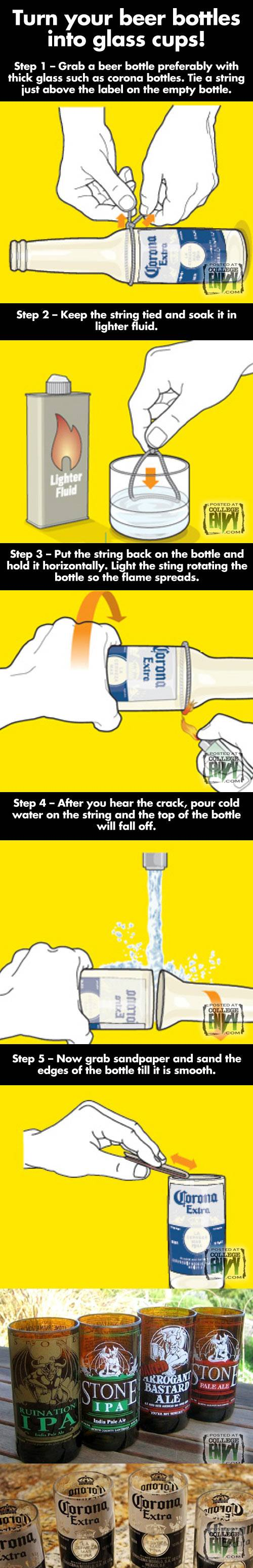 How to turn your beer bottles into glass cups!