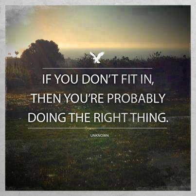 If you don't fit in, then you're probably doing the right think.