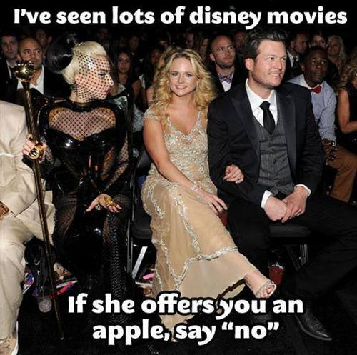 I've seen lots of Disney movies If she offers you an apple, say no - Lady Gaga At The 2012 Grammys