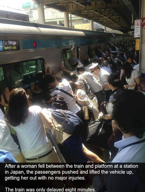 Japan - woman fell between the train and platform passengers lifted train to save her.