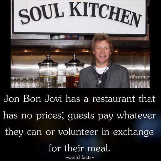 Jon Bon Jovi Has A Restaurant That Has No Prices