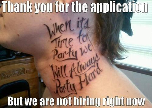 Love to party tattoo on neck !