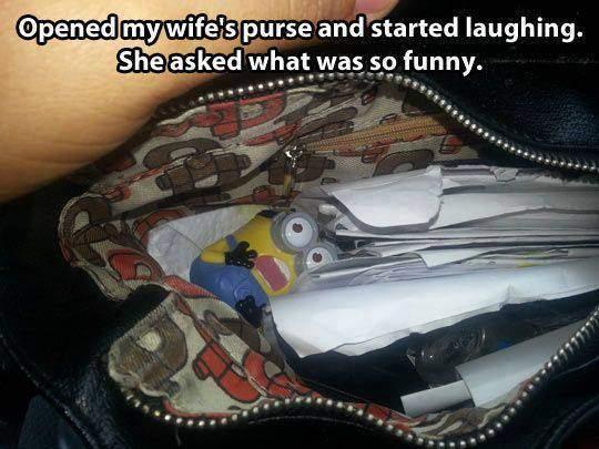 Minion in wife's purse.