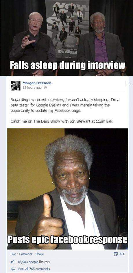 Morgan Freeman falls asleep during interview