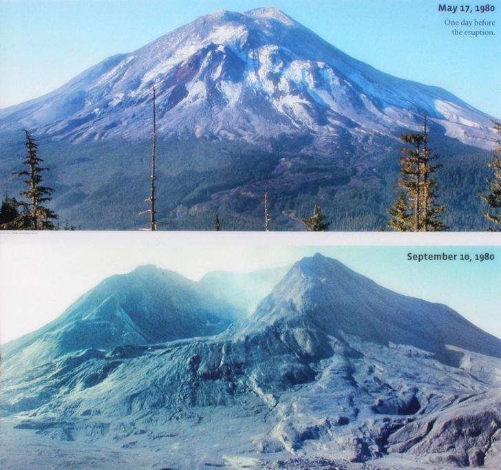 Mount St. Helens Before and After May 18th 1980 Eruption