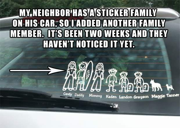 Download this image my neighbour has a sticker family on his car