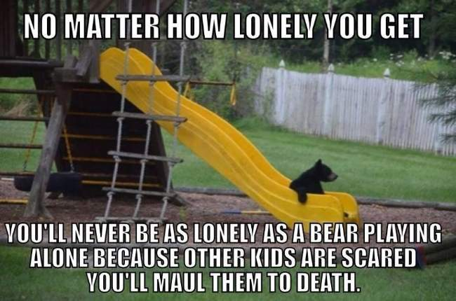 No matter how lonely you get - Bear playing alone!