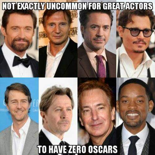 Not exactly uncommon for great actors to have zero Oscars.