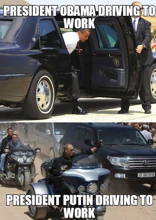 Obama vs Putin driving to work