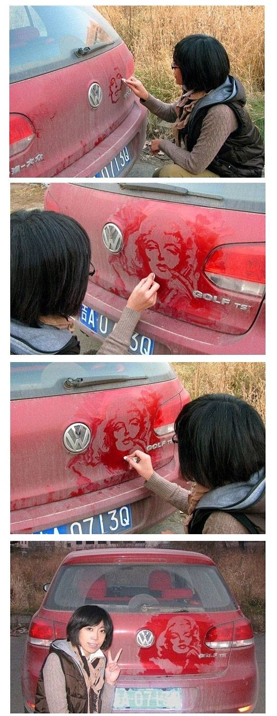 Painting on the dusted car