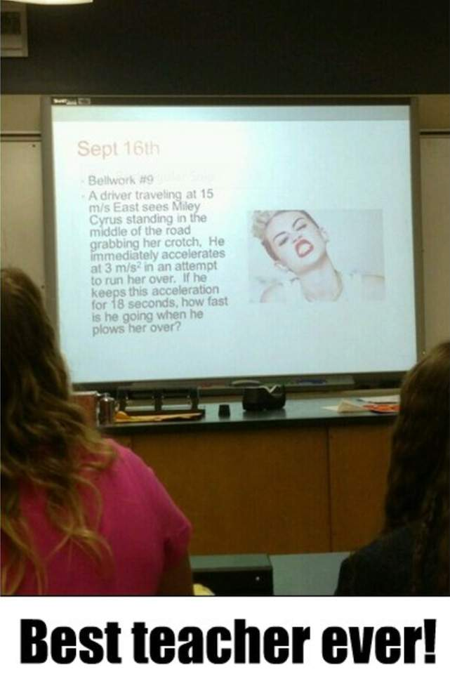 Physics problem with Miley Cyrus