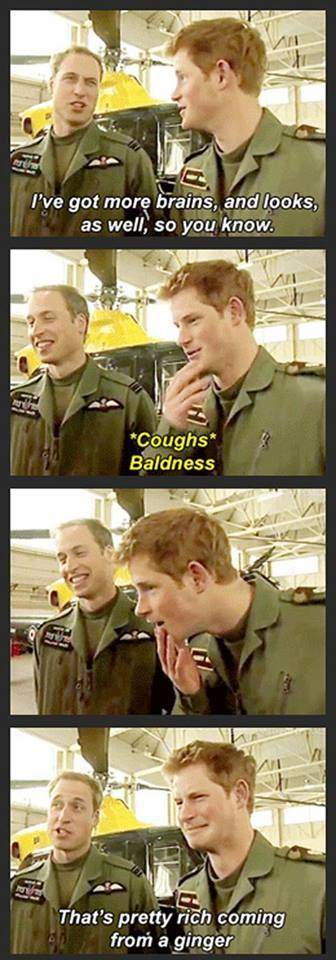 Prince William - I got more brains, and looks, as well, so you know.