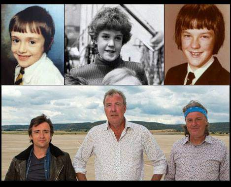 Richard Hammond, Jeremy Clarkson and James May when they were young.