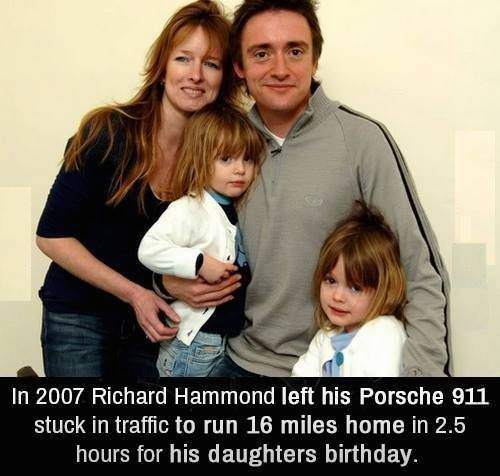 Richard Hammond left his Porsche 911 stuck in traffic to run 16 miles home for his daughters birthday.