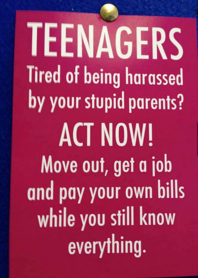 Small message to teenagers!