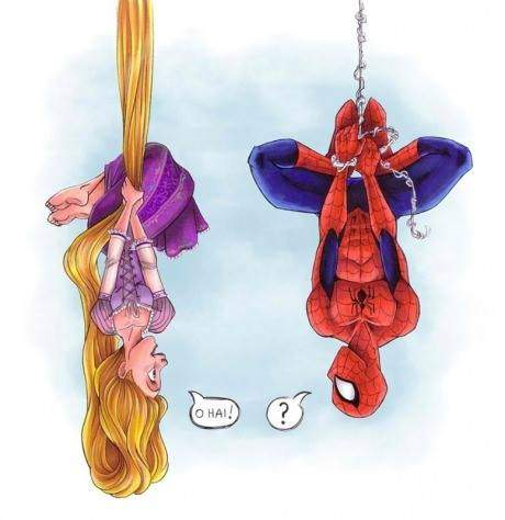Spiderman met Rapunzel