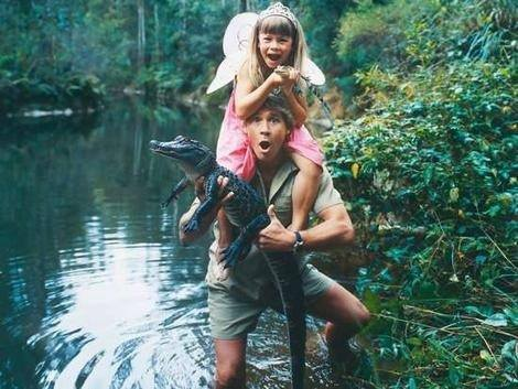 Steve Irwin his daughter, and a crocodile.