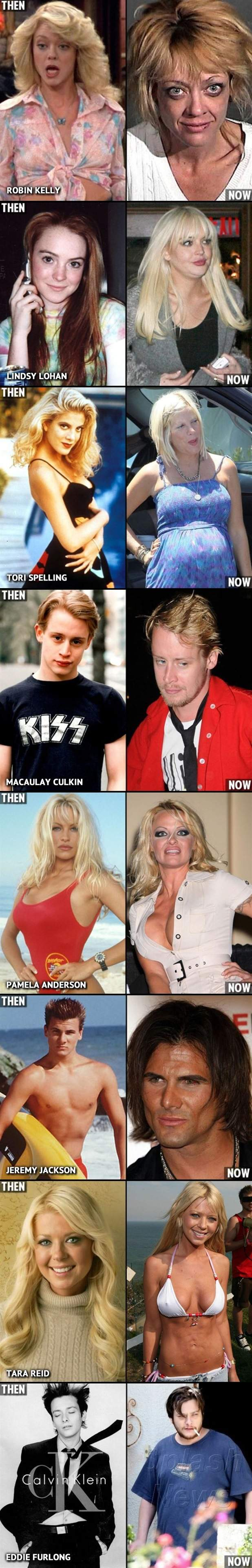 Teen stars then and now.