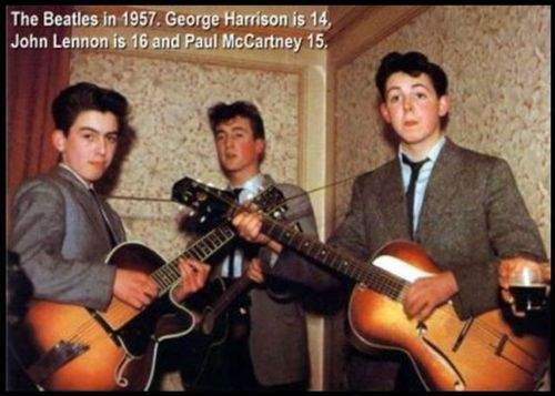 The Beatles in 1957.