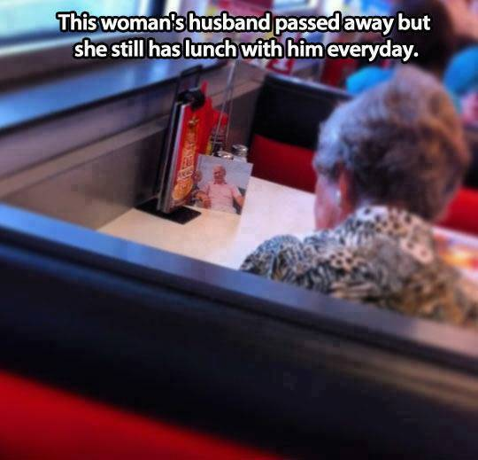 This woman's husband passed away but she still has lunch with him everyday.